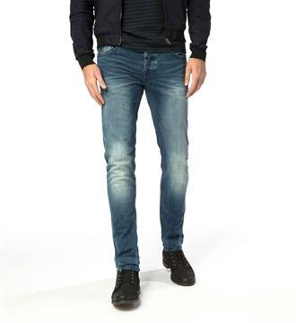 Cast Iron Tapered jeans Riser slim mid aged sweat Blue denim