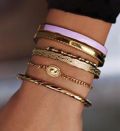 My Jewellery Armbanden Bangle streep patroon Goud