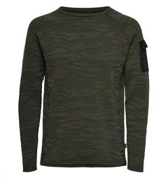 Only and Sons Fleece truien 22006874 tobi Army