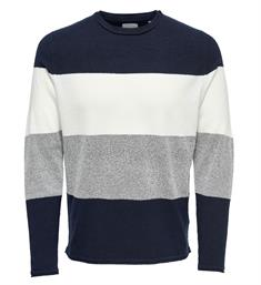 Only and Sons Gebreide truien 22008711 ted Navy
