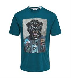 Only and Sons Korte mouw T-shirts 22012566 onsloris ss funny Blauw