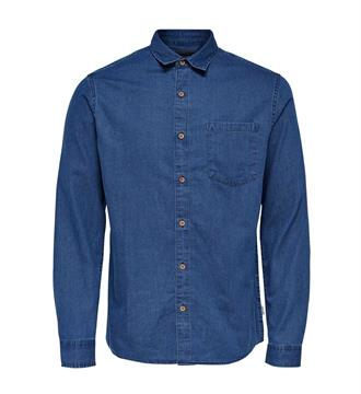 Only and Sons Lange mouw overhemden 22007087 tonni Blue denim