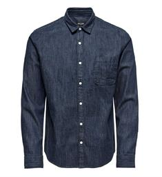 Only and Sons Lange mouw overhemden 22010477 kade l Blue denim