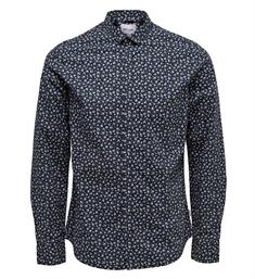 Only and Sons Lange mouw overhemden 22012322 todd Navy