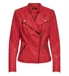 Only Korte jasjes 15102997 onlava faux leather Rood