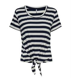 Only Korte mouw T-shirts 15178088 onlarli s/s knot top Navy