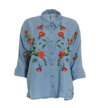 Only Lange mouw blouses 15151444 grace Blue denim