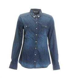 Only Lange mouw blouses 15152274 Blue denim
