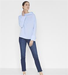 Opus Lange mouw blouses Famy chambray h Lichtblauw