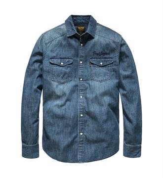 PME Legend Lange mouw overhemden Psi176252 Blue denim